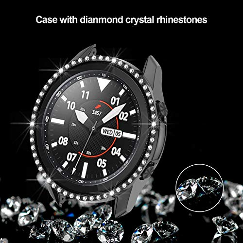 Samsung Galaxy Watch 3 41mm Hard Diamond Case,JZK Bling Crystal Diamonds Protective Cover PC Plated Bumper Frame Women Girl Samsung Galaxy Watch 3 41mm SM-R850 Accessories,Black+Clear
