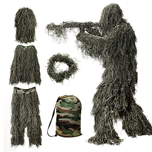 Ghillie Suit for Men, 5 in 1 Ghillie Suit Superior Camo Hunting Clothes for Men/Kids/Youth Hunters, Military, Sniper Airsoft and Paintball