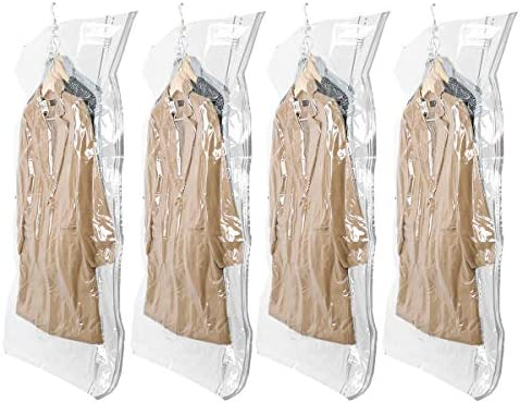 TAILI Hanging Vacuum Space Saver Bags for Clothes 4 Pack Long 53x27 6 inches Vacuum Seal Storage product image