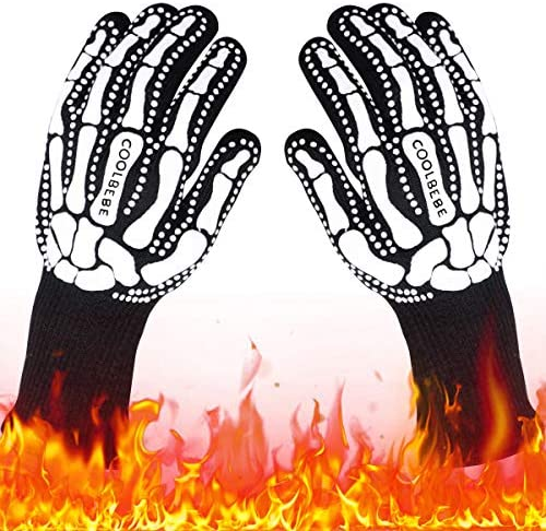 Black Skeleton BBQ Grill Gloves COOLBEBE Unisex Cooking Oven Barbecue Gloves Kitchen Mitts with product image