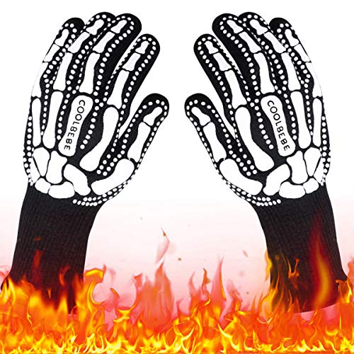 Black Skeleton BBQ Grill Gloves, COOLBEBE Unisex Cooking Oven Barbecue Gloves Kitchen Mitts with Skull Pattern - 1472°F Extreme Heat Resistant, Durable & Light Weight - 1 Pair