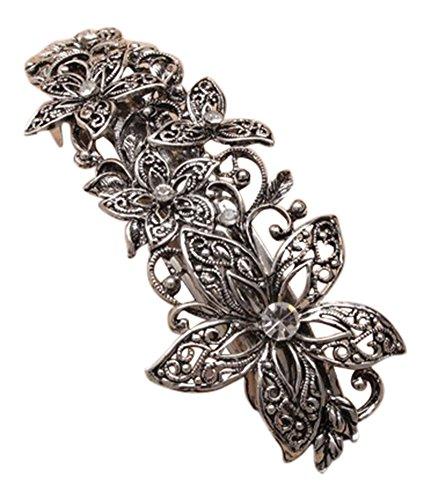 Silver Crystal Open Flower Metal Barrette