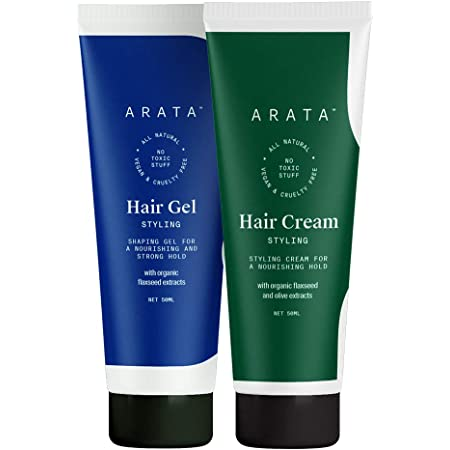 Arata Natural Curl defining Hair Styling Combo with Hair Gel & Hair Cream for Women & Men    All Natural,Vegan & Cruelty Free    For Nourishing,Styling & Strong Hold (100 ml)
