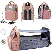 SLGOL Diaper Bag Backpack with Fodable Crib