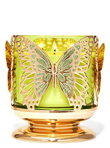 Bath and Body Works White Barn Butterfly 3 Wick Candle Holder Sleeve Gold Tone