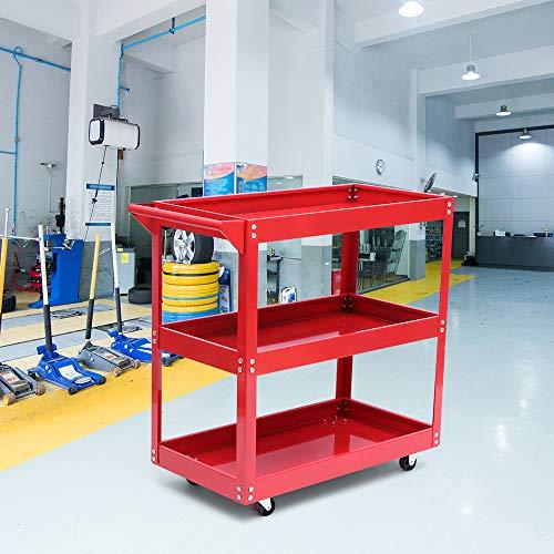 3-stufiger Werkstattwagen, SUNASQ-Wagen auf Rädern Hochleistungs-Werkzeugwagen-Lagerregal Garage DIY, Rollrad-Garagenregal, Stahl Praktisches Rollrad-Garagentablett.