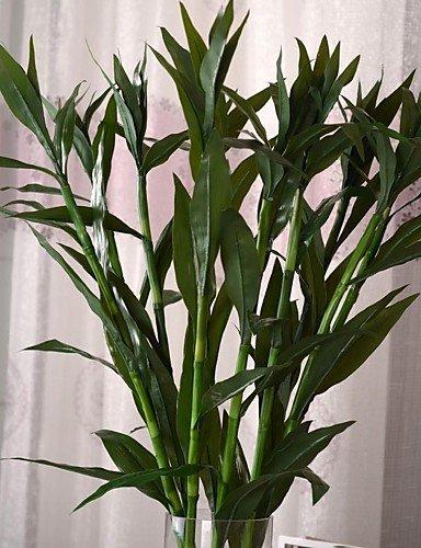 """HUAHUA,Künstliche Blumen, 35,8 \""""l Satz 1 grüne Glück Bambus Seidentuch Pflanzen"""
