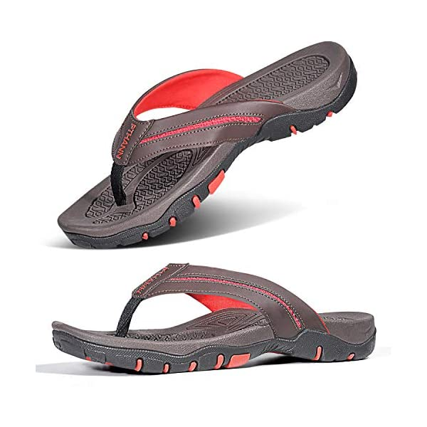 Mens Flip Flops for Plantar Fasciitis Orthotic Sandal, Recovery Flat Feet Arch Support for Mens Thong Shoes, Foot Pain/Stress Relief Non Slip Flip Flop Sandals for Men for Indoor and Outdoor Beach