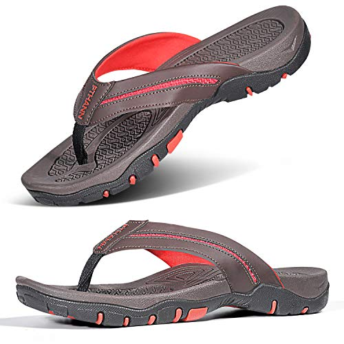 Mens Flip Flops for Plantar Fasciitis Orthotic Sandal, Recovery Flat Feet Arch Support for Mens Thong Shoes, Foot Pain/Stress Relief Non Slip Flip Flop Sandals for Men for Indoor & Outdoor Beach