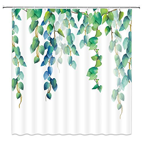 AMNYSF Leaf Shower Curtain Watercolor Spring Plants Floral Leaves Vines Green Blue Decor Fabric Bathroom Curtains,Waterproof Polyester with Hooks 70x70 Inch