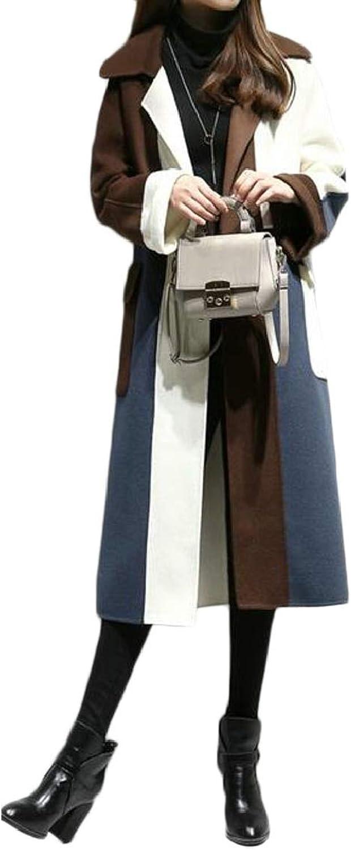 LKCENCA Womens Autumn Winter Contrast color Long Woolen Coat Trench Coat