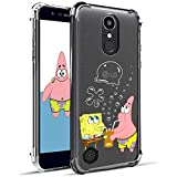 Lupct for LG K8 2018/LG Aristo 2 Plus/LG Phoenix 4/LG Aristo 2 Case, Soft TPU Cartoon Cute Mobile Phone Spongebob&Patrick Design Girls Kids Cover Skin Slim Ultra-thin Bumper Clear Shell for LG K8 2018
