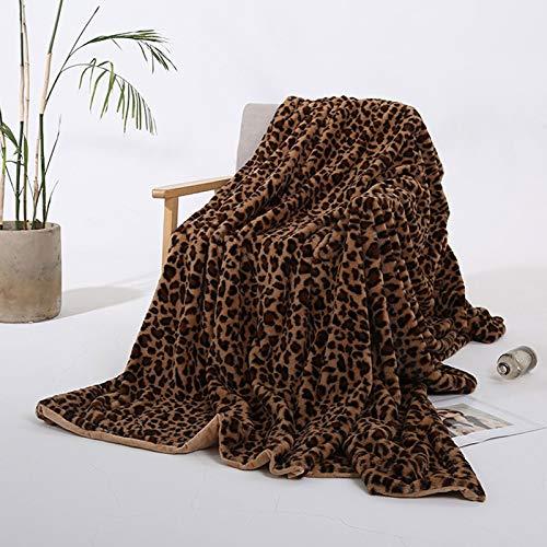 HKD Manta Sintética Estampado De Leopardo, Extra Suave Transpirable Manta de Franela Reversible Manta De Cama, Mantas de Pelo Cálida Acogedor for Cama, Sofá, Viaje