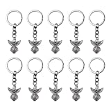AUEAR, 20 Pack Silver Tone Guardian Angel Charm Pendant Keychain Wings Key Ring for Baptism