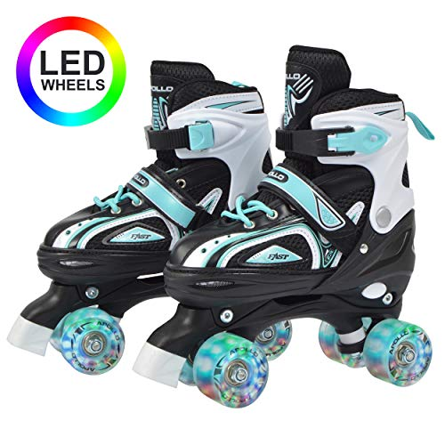 Apollo Super Quad X Pro, LED Rollschuhe für Kinder und Jugendliche, ideal für Anfänger, komfortable Roller-Skates für Mädchen und Jungen