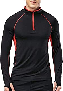 MUSCLE ALIVE Men's Quarter Zip Running Active T Shirts Workout Long Sleeve Jersey with Thumb Holes