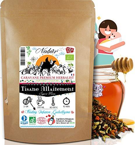 Nabür - Chá de Amamentação N ° 1 ORGANIC 120 Gr enn Erva-doce 4-em-1, Alcaravia, Feno-grego, Chá de ervas de favo de mel ic Cólica, Promove a lactação, livre de Theine, +60 xícaras