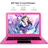 Tocosy Laptop 10.1Inch Quad Core Windows 10 HD Graphics Ultra Thin Computer PC, 2GB RAM 32GB Storage 1.92GHZ USB 2.0 WiFi Bluetooth HDMI IPS Display Notebook (Pink)
