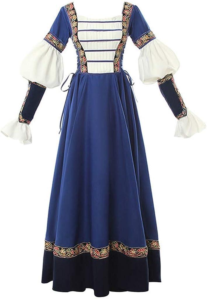 STH Blue White Women Victorian Gothic Costume Medeival Lon Special sale Washington Mall item Dress