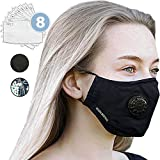 Anti Pollution Dust Mask + 8 FILTERS - Face Mask for Dust, Mouth Mask N95 N99 Carbon Activated Air Dust Smoke Filter. Cotton Washable - Reusable Respirator Breathing Mask by Rensal Brothers (Black)