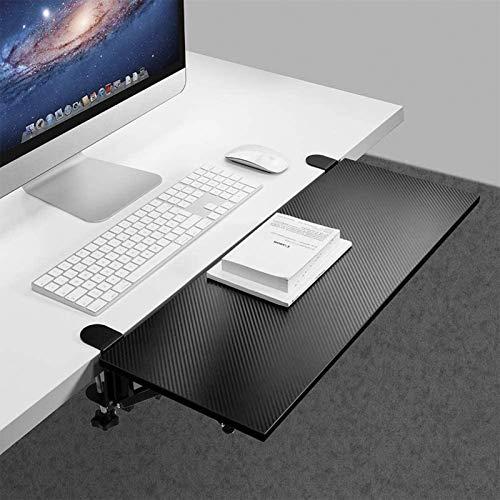 LXTIN Ergonomische Tastaturablage unter dem Schreibtisch Slide Extender Clip-on Tischhalterung Armlehne Regalständer Lochfreie Mausschublade Ellbogenarmstütze 25 * 9 '', Schwarz