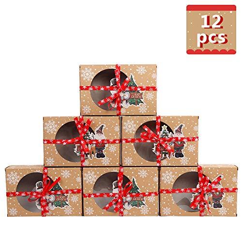 AerWo - 12 Confezioni di scatole per Biscotti Natalizie con Finestra, in Carta oleata e Nastri, per 12 Biscotti o Torte