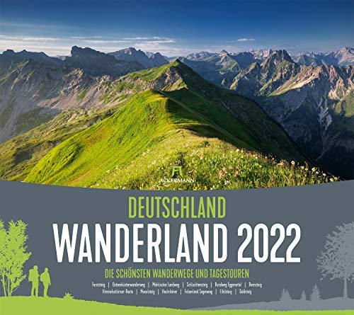 Deutschland Wanderland Kalender 2022, Wandkalender im Querformat (54x48 cm) - Naturkalender mit Routenbeschreibung der Wanderwege für Wanderer: Top Trails of Germany