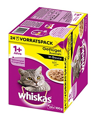 Whiskas Katzenfutter Nassfutter Adult 1+ Geflügelauswahl in Sauce, 24 Portionsbeutel (24 x 100g)