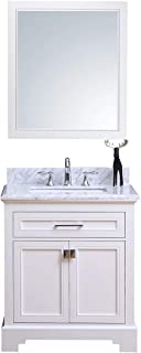 Traditional Freestanding White Bathroom Vanity with Gray Italian Carrara Marble Top | Modern Farmhouse Vanity Sink Combo with Soft Close Drawers | 30 inch