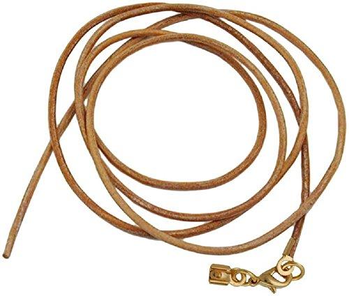 Unbespielt Lederband Natur 1m Lang Kürzbar Karabinerverschluss Goldfarben Kette Collier Halskette Damen Herren Kinder