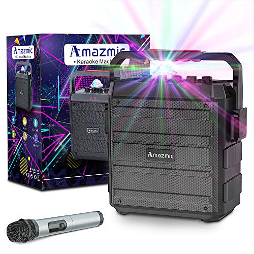 top rated Amazmic portable karaoke machine for kids and adults, Bluetooth speaker with wireless speakerphone … 2020