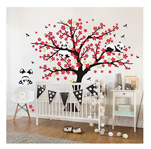Sayala 3 Panda Wandtattoo-Wandsticker mit Floralem-Pfirsich Sakura Blumen Baum Wandbild für Mädchen/Jungen oder Baby Zimmer.2m&1.8m Wanddeko Wandtattoobaum (Rot)