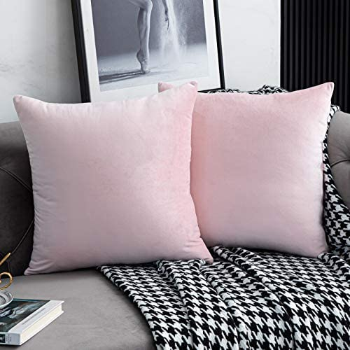 WLNUI Set of 2 Soft Velvet Pink Pillow Covers 18x18 Inch Square Decorative Throw Pillow Covers product image
