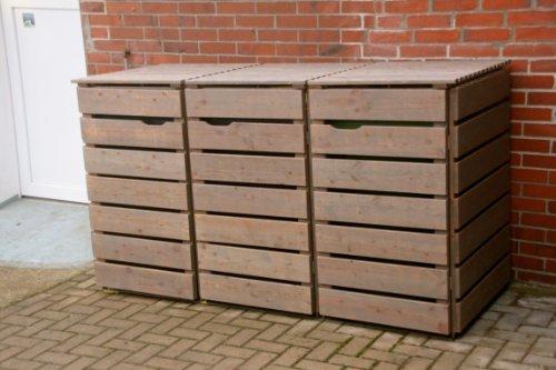 3er Mülltonnenbox / Mülltonnenverkleidung 120 L Holz, Deckend Geölt Tannengrün - 9