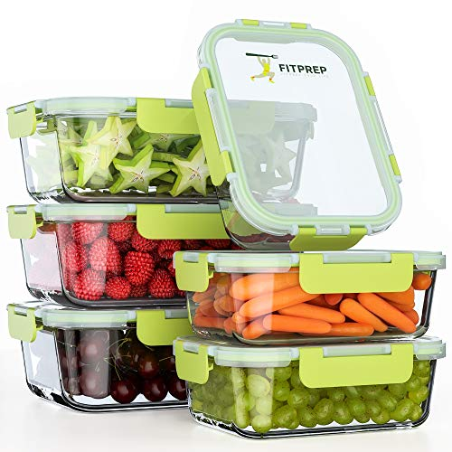 FITPREP® Frischhaltedosen aus Glas 12 teiliges Set [6 Vorratsdosen + 6 Deckel] Premium Glasbehälter mit Deckel & Lifetime Lasting Lid - perfekt für Meal prep