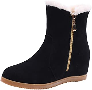 8bfa275096093e OSYARD Chaussure Femme Bottines Hiver Chaud Plate Basse Suede Bottes Mode  Bout Rond Chaussure de Neige