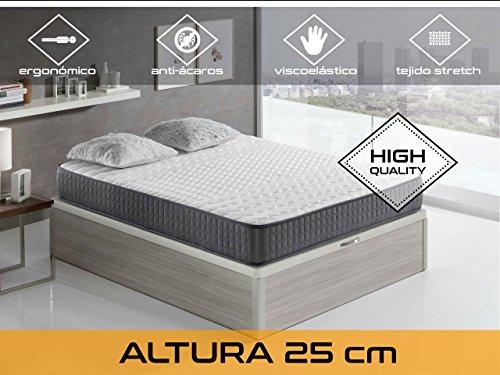 Relaxing-Comfort Velver 25 5.0 F/Media matras Visco elastisch, algodón-poliuretano, wit en zwart, tweepersoonsbed, 190 x 140 x 25 cm
