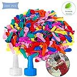 WELLXUNK 1000 Palloncini d'Acqua, d'Acqua Riempire Balloons, Colorato Bombe d'Acqua con Ugello 2 Tubo, per Bambini e Adulti Party Giochi da Giardino All'Aperto, Feste di Compleanno, Giochi d'Acqua