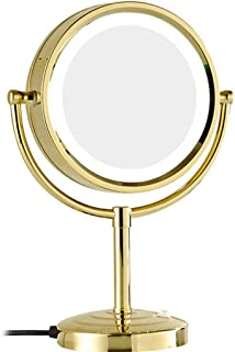 Makeup Mirror with LED Light, Two-Sided Vanity Mirror 10X Magnifying Cosmetic Mirror 360° Swivel Bathroom Mirror Shaving in Bedroom or Bathroom Powered by Plug,Gold