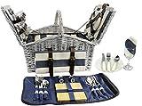 HappyPicnic Huntsman - Cesta de pícnic para 4 personas con doble tapa y enfriador con aislamiento 'Built-in', juego de picnic de sauce (rayas marinas)