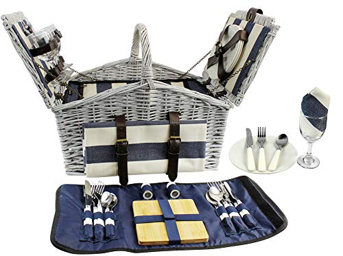 HappyPicnic 'Huntsman' Willow Picnic Hamper for 4 Persons with 'Built-in' Insulated Cooler, Wicker Picnic Basket with Canvas Stripe Lining, Willow Picnic Set, Picnic Gift Basket (Navy Stripe)