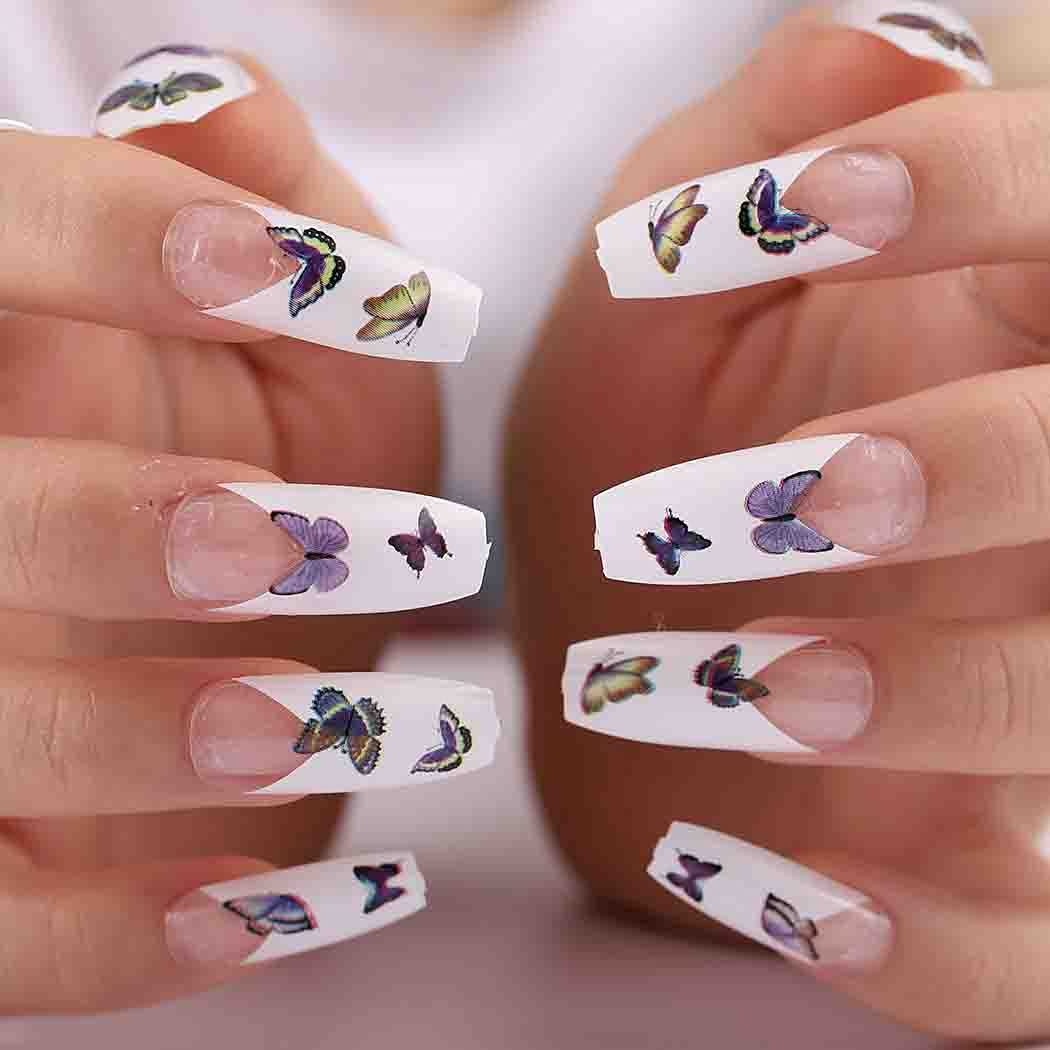 Outyua Butterfly French Press on White Easy-to-use Butte Nails Coffin Attention brand Glossy
