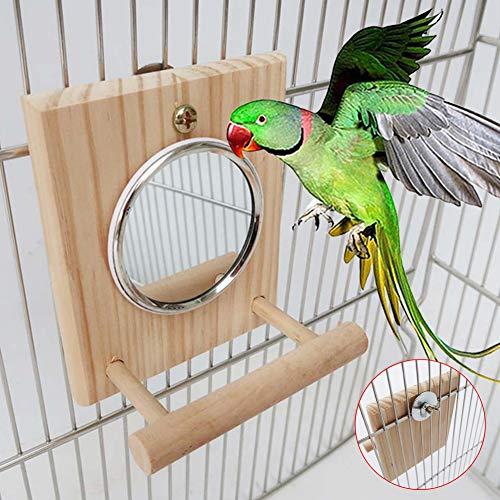 CFPacrobaticS - Soporte de madera para pájaros y loros con plataforma para colgar en jaula, juguete para masticar con espejo para grises, periquito, cacatúa, cacatúa, conure Lovebirds color madera