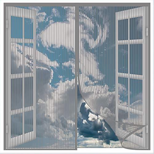 COUEO Cortina Mosquitera Magnética 80x120cm(31x47inch) Cortina de Malla Evita el Paso De Insectos Fácil de Ensamblar para Sala de Estar Balcón Patio Habitación, Gris