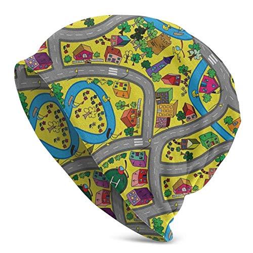 Lsjuee Abstract Roadway Activity Ilustración Moda Disturbed Adult Men 's Knit Hat Hedging Head Hat Gorro de nivel superior Beanie Cap