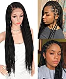 """Brinbea 30 inch 13X6"""" Swiss Lace Front Knotless Box Braided Wigs Fully Handmade Box Braids Wigs with Baby Hair for Black Women Lightweight Synthetic Twist Braid Wig"""