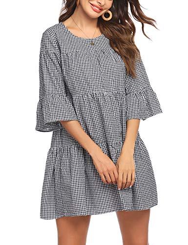 Hotouch Women Dresses Plaid Bell Sleeve Summer Casual Sundress A Line Loose Swing T Shirt Mini Dress Black