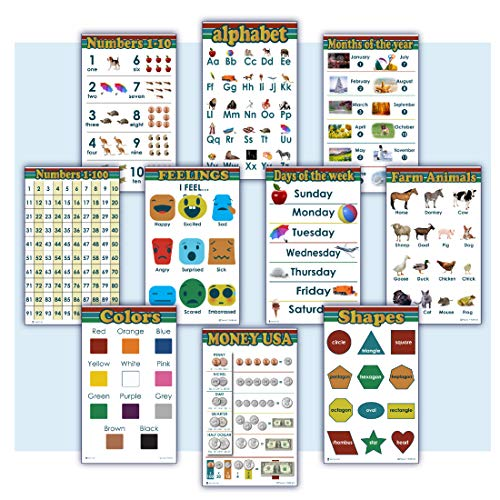 10 Educational Posters for kids Alphabet, Numbers 1-100, Days of week, Months, count 1-10, Money, shapes 2D 3D, Feelings, Farm Animals, Colors Young N Refined (Glossy Paper 13x18)