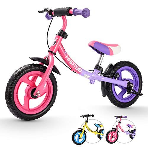 HAPTOO 12 Zoll Kinder Laufrad für 2-6 Jahre, Kleinkind Laufräder mit Handbremse und Ständer, Verstellbare Sitzhöhe und Lenker, Bestes Geburtstagsgeschenk für Jungen Mädchen Laufrad ab 2 Jahre