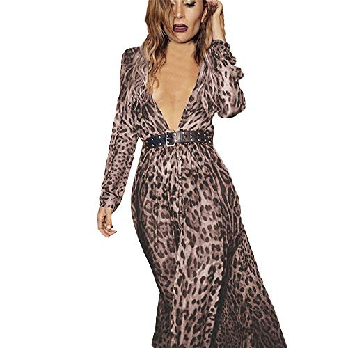 Womens Winterjacke wintermäntel extra Daunenjacke Jacke Outwear Frauen damenmäntel Trenchcoat Langmantel Sexy V-Neck Leopard Printed Split Hem Long Sleeve Party Wrap Maxi Dress(Braun,XL)
